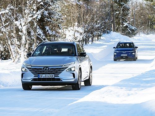Hyundai испытывает кроссоверы Kona Electric и NEXO в Лапландии