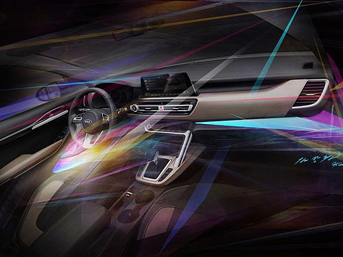 Kia представил интерьер нового компактного кроссовера