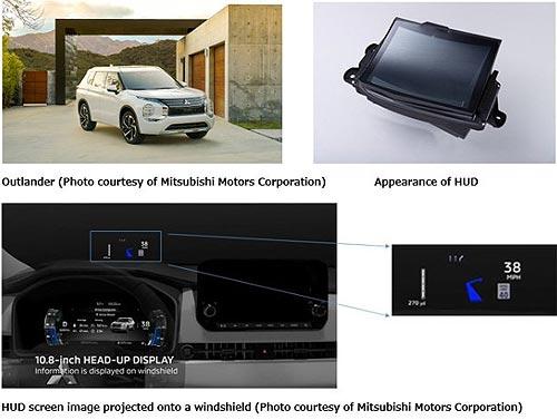 В новом Mitsubishi Outlander установили широкоформатный Head-Up дисплей с проекцией на лобовое стекло - Mitsubishi