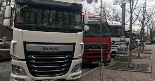В Киеве протестуют автомобильные перевозчики