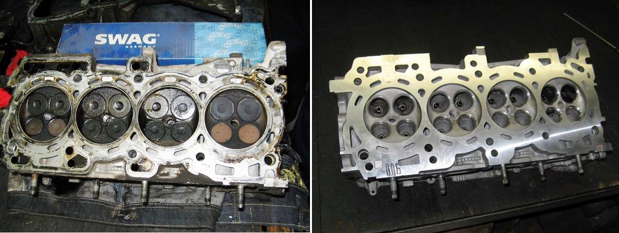 Изношенная ГБЦ Nissan X-Trail и та же головка – Rebuilt
