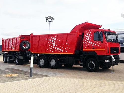 МАЗ представил самосвальные автопоезда для строителей - МАЗ