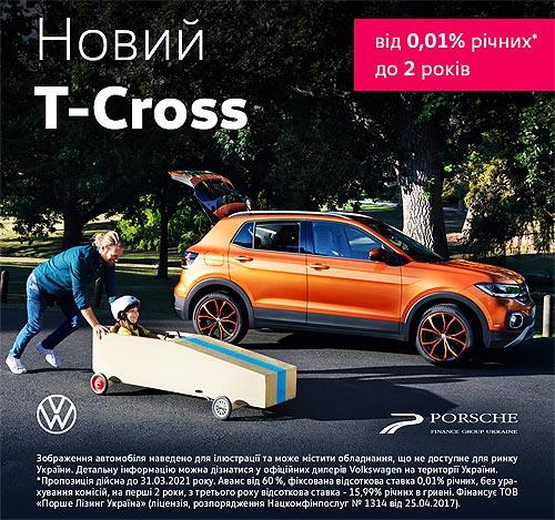Volkswagen Без Забот: выгода на VW T-Cross достигает 33 тыс. грн. - Volkswagen